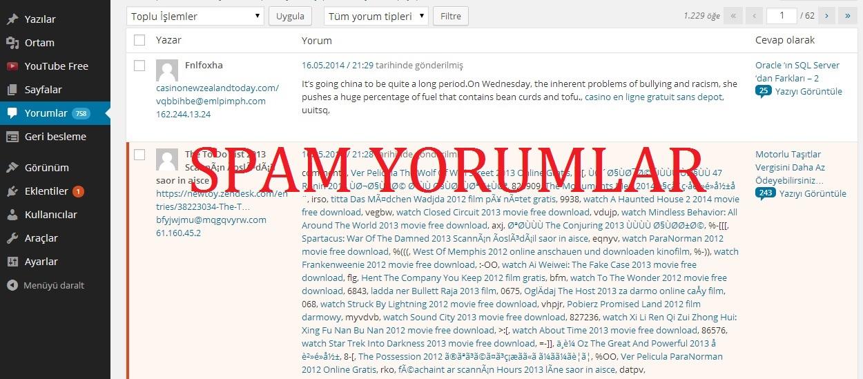 Wordpres – Spam Yorumları Tek Seferde Silmek