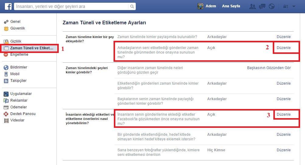 Facebook PC Zaman Tüneli ve Etiketleme