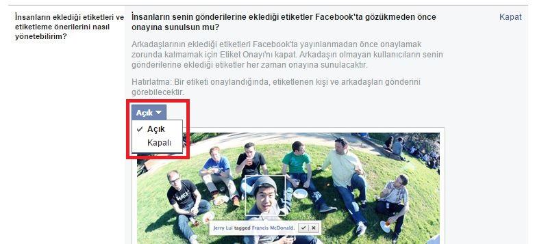 Facebook PC Gönderi Etiket Onayı