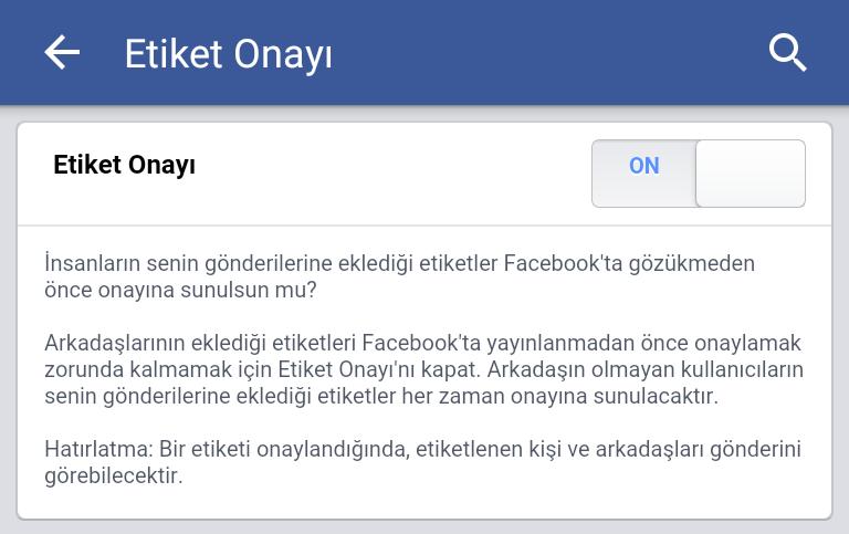 Facebook Mobile Gönderi Etiket Onayı